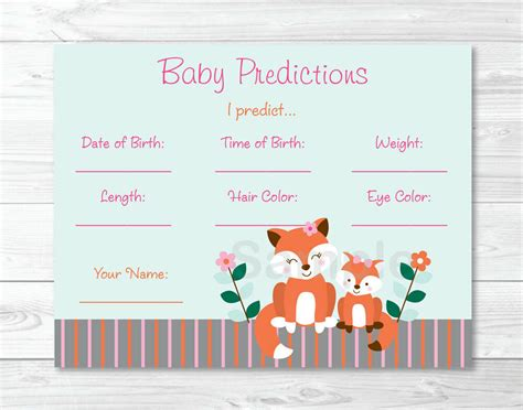 woodland girl fox baby shower baby predictions game cards