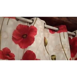 tissu rideaux ameublement fleurs coquelicot