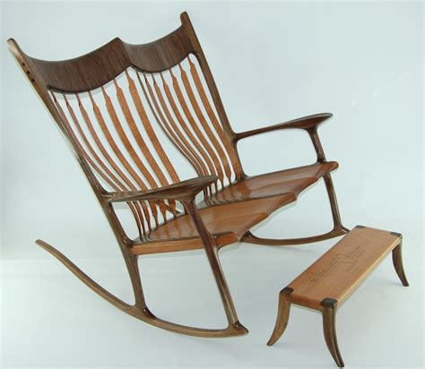 Custom double rocking chair lacewood amp walnut finewoodworking