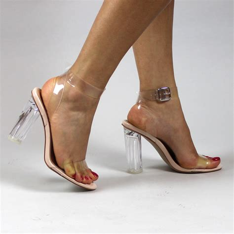 in high heels transparent strappy block heel peep toe evening