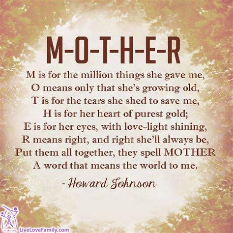 M O T H E R m o t h e r m is for the million things she gave me o