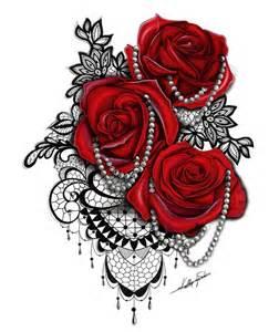 Ideen design juwelen tattoo designs medium schwarz rote rosen rosen
