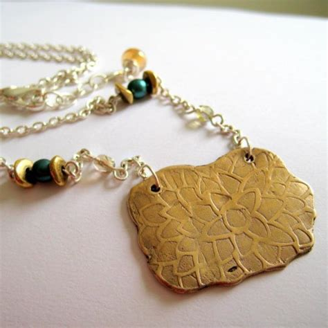 Zinnia Necklace items similar to recycled bronze zinnia pendant necklace with beaded chain on etsy