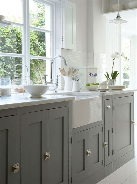 Grey Kitchen Cabinets by Painted Gray Cabinets Farmhouse Sink For The Home