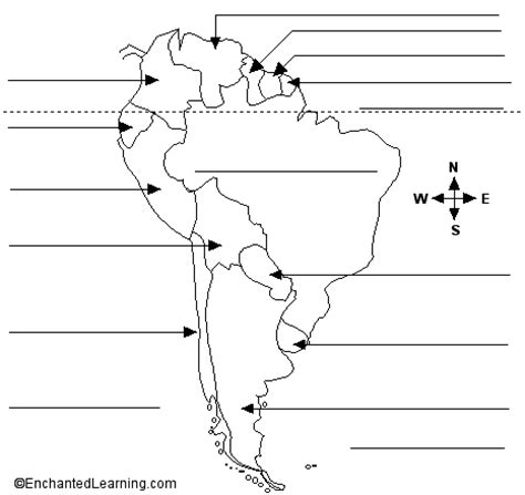 america map with labels south american countries to label geography