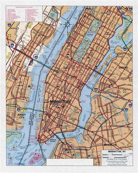 road map nyc large detailed road map of manhattan new york city