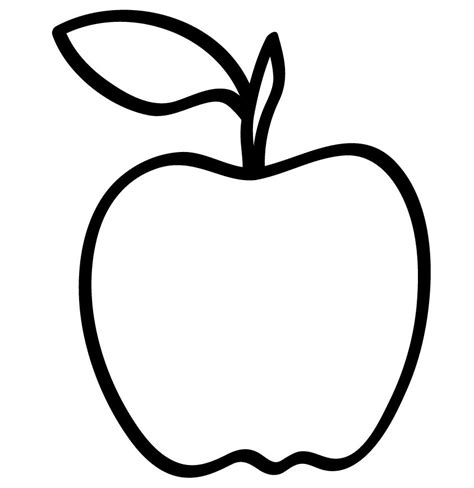 apple outline coloring page az coloring pages