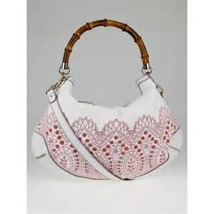 Gucci Peggy Large Top Handle Bag by Gucci White Canvas Embroidered Bamboo Peggy Top Handle
