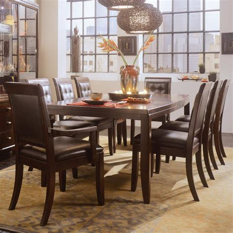 American Dining Room Furniture American Drew Tribecca 9 Rectangular Leg Table Leather Arm And Side Chair Formal Dining