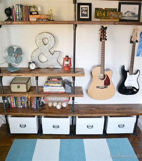 diy bedroom wall shelves how to make industrial shelves diy crafts handimania