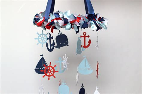 nautical nursery mobile in navy baby blue by