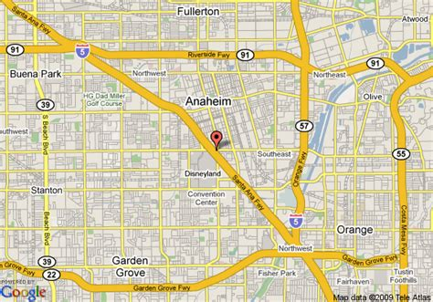 where is anaheim california on the map map of hotel menage anaheim