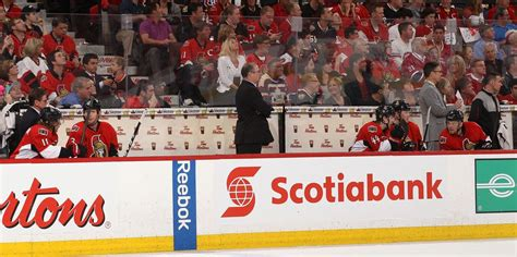 nhl bench the ottawa senators finish the game with 5 skaters on