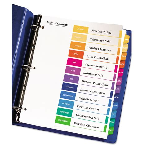 binder section dividers ready index customizable table of contents multicolor