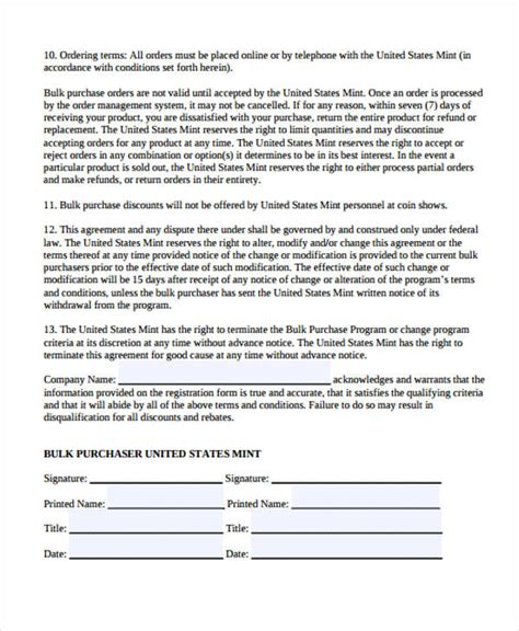 Sle Purchase Agreement Forms Wholesale Purchase Agreement Template