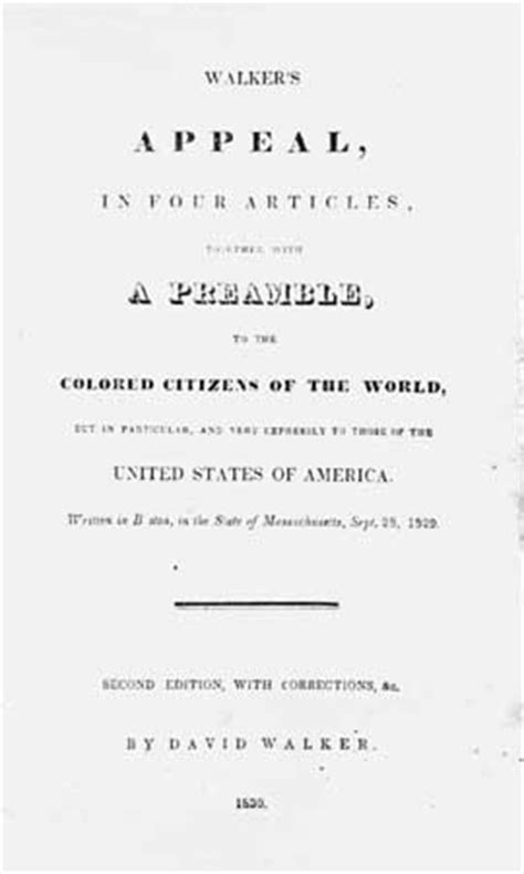 appeal to the colored citizens of the world david walker american abolitionist britannica