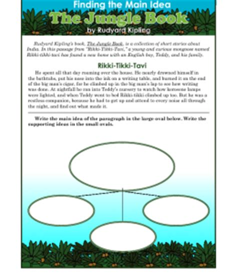 main idea and themes reading plus 3rd or 4th grade main idea worksheet about the jungle book