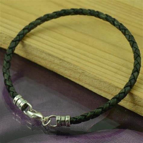 Handmade Mens Jewellery - handmade mens leather bracelet antique black custom size