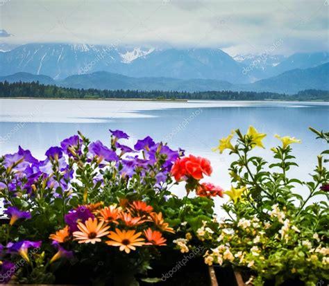 paesaggi di fiori paesaggio con lago e fiori in baviera foto stock