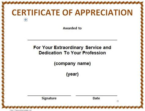 certificate of thanks template 30 free certificate of appreciation templates and letters