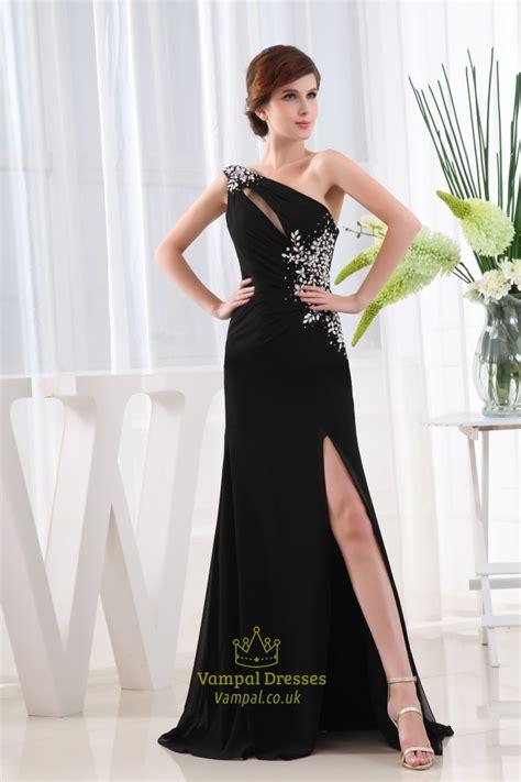 long black chiffon evening dress  shoulder chiffon