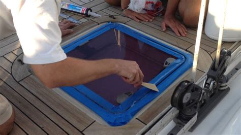 boat window seal replacement how to reseal a topside hatch window video 23 sailing