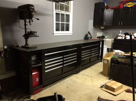 tool box workbench  steel top homemade black shop
