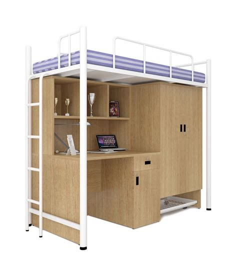 Bunk Beds With Study Table Unicos Jumbo Bunk Bed With Study Table In White Teak Buy Unicos Jumbo Bunk Bed With