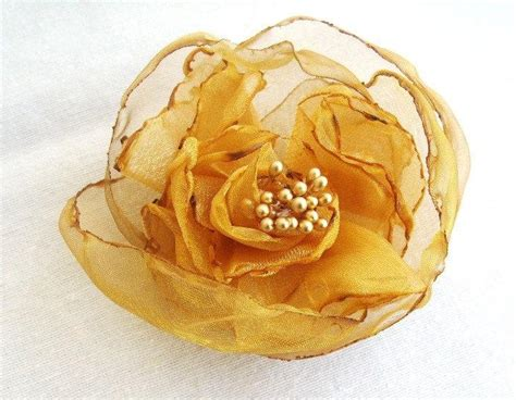 The Golden Accessories For This Fall by Golden Yellow Organza Bridal Flower Hair Clip With Gold