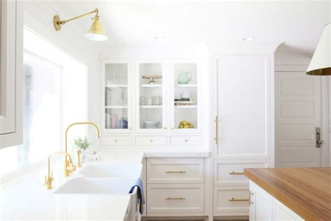 Ikea Touch Floor L by Chic White Kitchen Remodel With Brass Touches Digsdigs