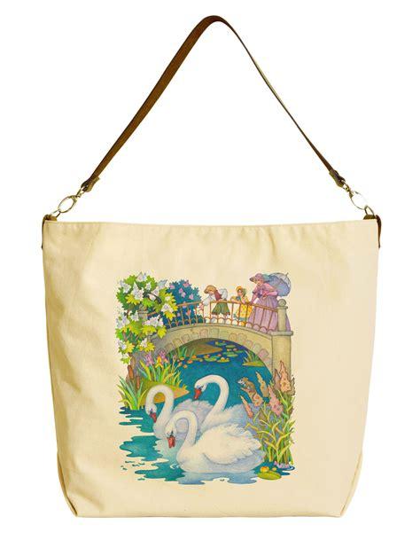 Tote Bag 29 painted swan beige printed canvas tote bag with