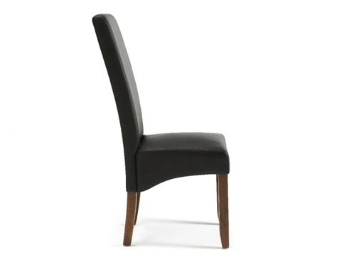 Dining Chairs With Black Legs Serene Merton Black Faux Leather Dining Chairs With Walnut Legs Pair By Serene Furnishings
