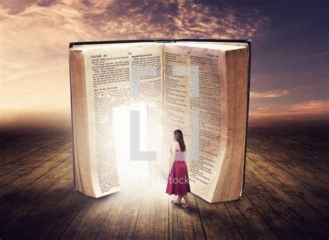 Walk Through My Door walking through a glowing door in a bible photo by