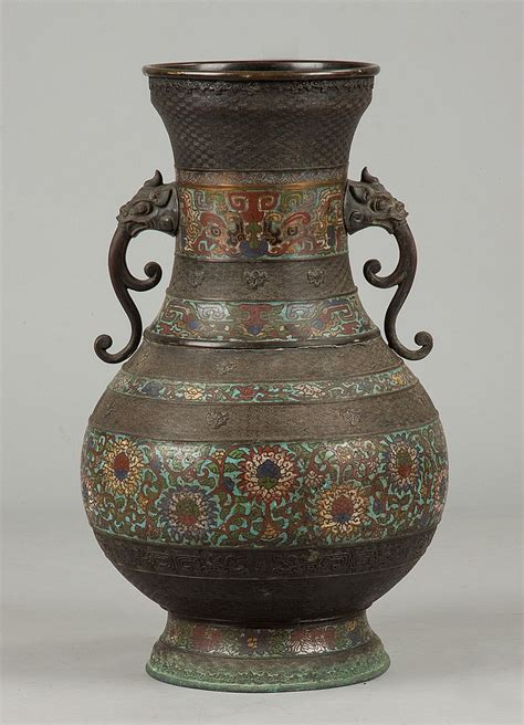 Antiques From China Auction by Bronze Cloisonne Vase