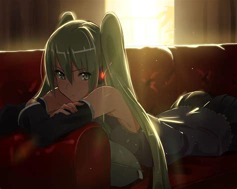 butt couch ass couch domo1220 green eyes green hair hatsune miku long