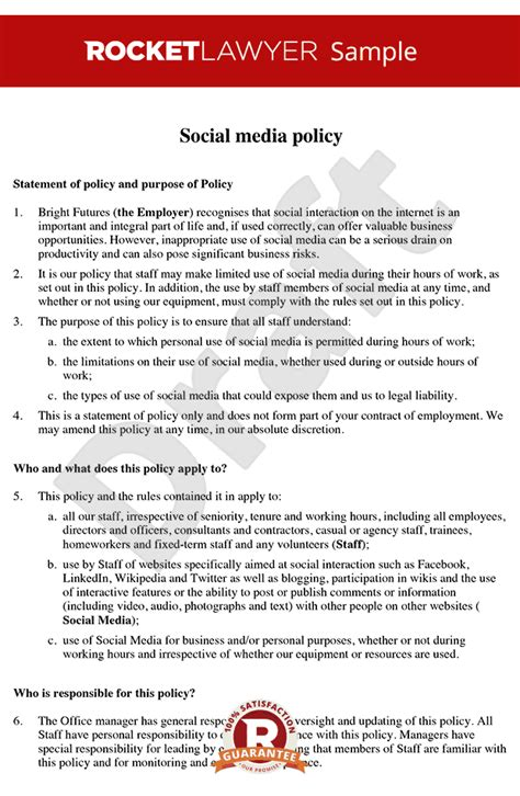Social Media Policy Social Media Policy Template Social Media Policy Exle Simple Social Media Policy Template