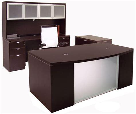 glass front mocha conference desk