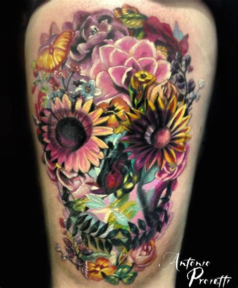 skull with flowers tattoo antonio proietti mexican skull camdentown studio