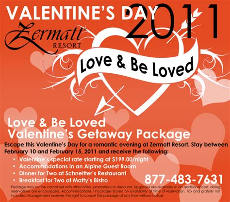 valentines packages specials for 2011 the zermatt resort weblog