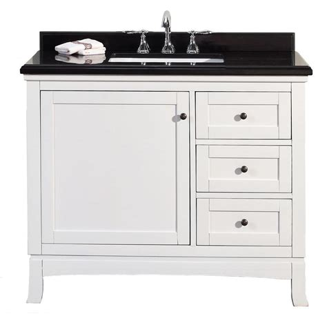 Black Bathroom Vanity With White Marble Top Ove Decors 42 In W X 21 In D Vanity In White With Granite Vanity Top In Black With