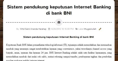 ib bank bni sistem pendukung keputusan banking di bank bni