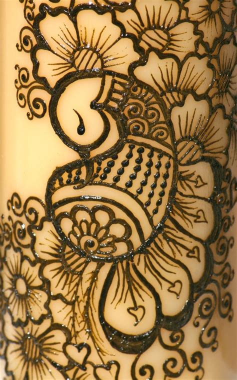 henna peacock tattoo henna peacock candle yellow pillar candle intricate