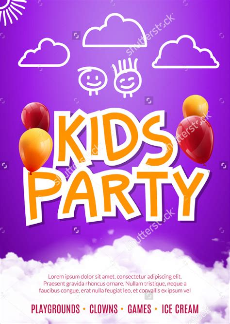 21 kids birthday party flyer templates free premium