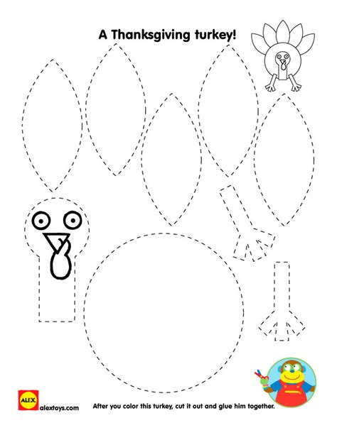 printable turkey cut and color thanksgiving turkey printables alexbrands com
