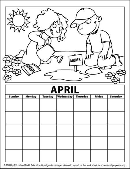 calendar colors artistic april calendar education world