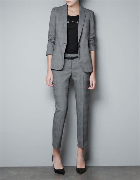 Blazer Zara zara checked blazer in gray lyst