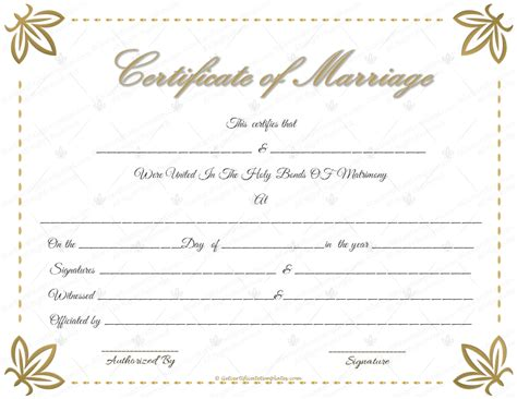 marriage certificate template free printable marriage