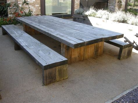 outdoor table and bench seats exterior diy solid wood picnic table with