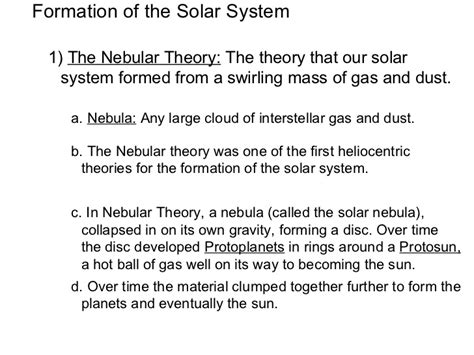 history of pattern formation theory formation ofthe solar system notes