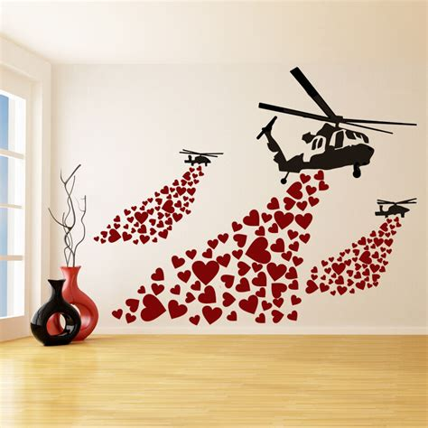 banksy vinyl wall decal helicopter  hearts graffiti